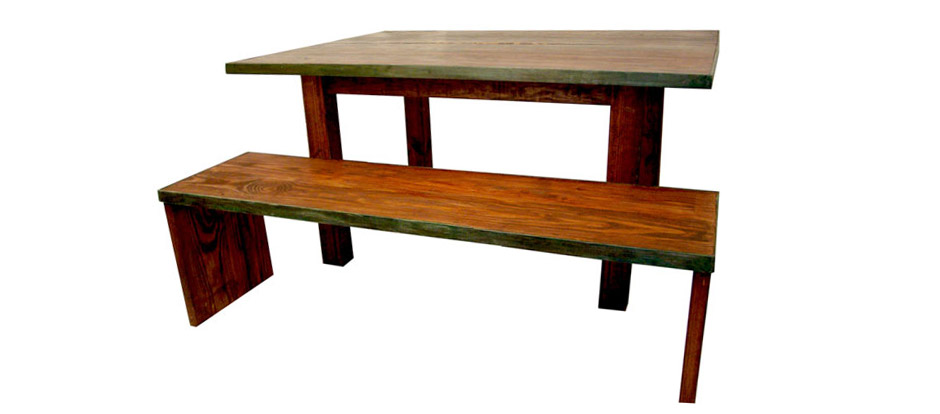 Rustic Wide Board Bench with Metal Frame