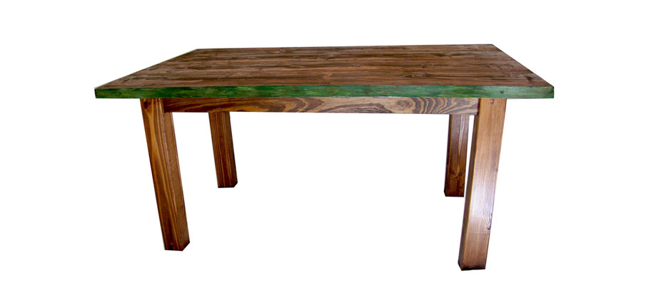 Rustic Wide Board Dining Room Table with Metal Frame